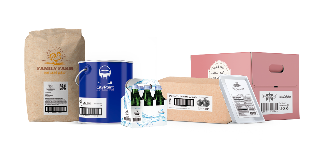 Automatic, real-time labeling on secondary packaging (boxes, bags, packs)